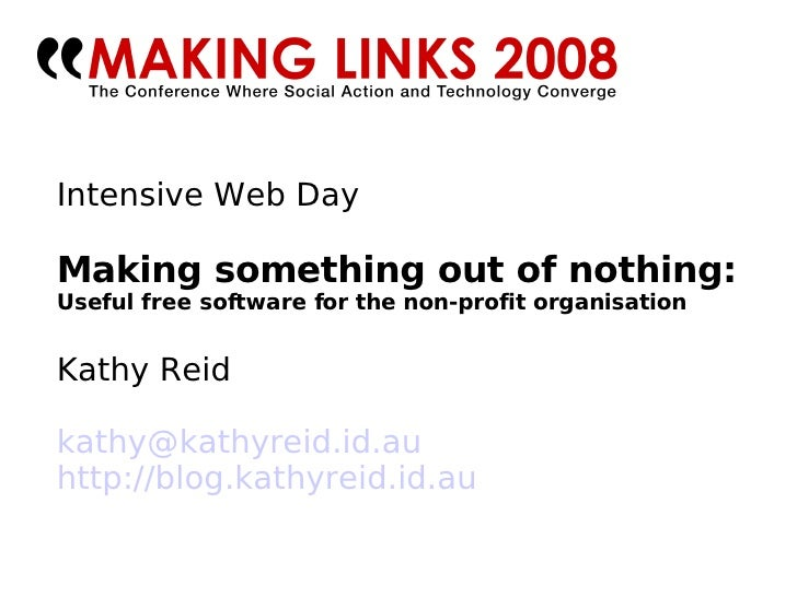 Making something out of nothing: Free software for non-profit organisations