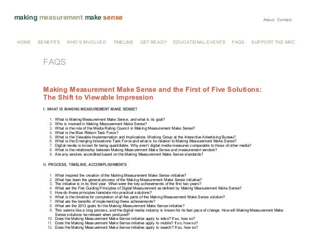 making measurement make sense  HOME  BENEFITS  WHO'S INVOLVED  TIMELINE  About Contact  GET READY  EDUCATIONAL EVENTS  FAQ...