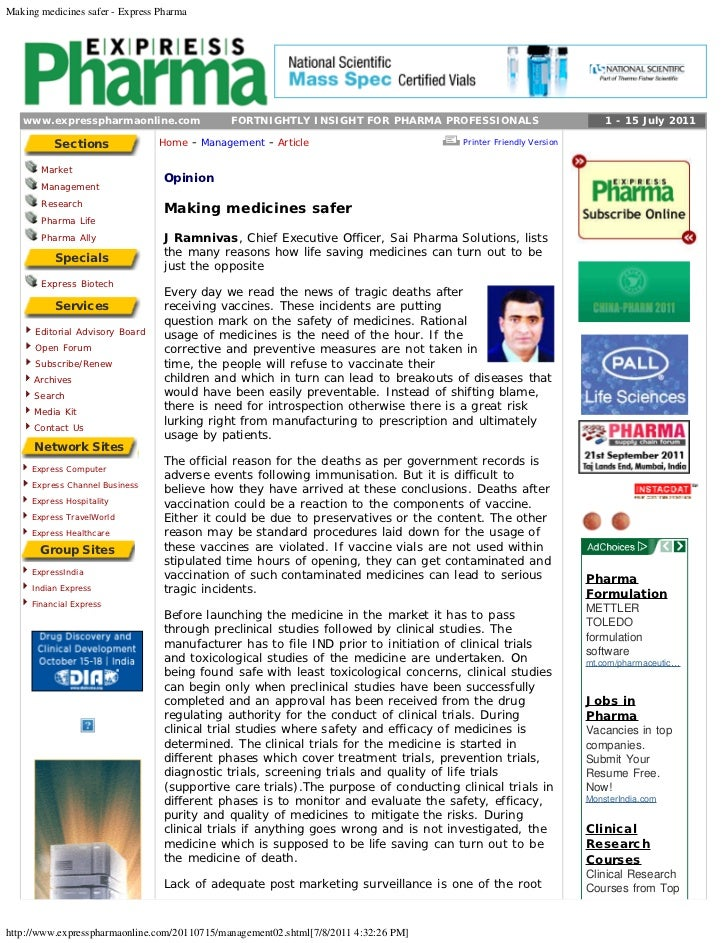 Making medicines safer - Express Pharma   www.expresspharmaonline.com                   FORTNIGHTLY INSIGHT FOR PHARMA PRO...