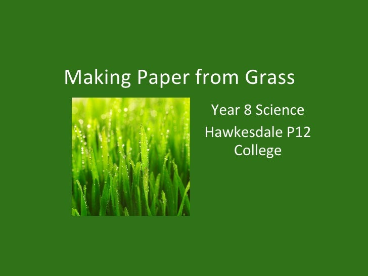 Making Paper from Grass Year 8 Science Hawkesdale P12 College