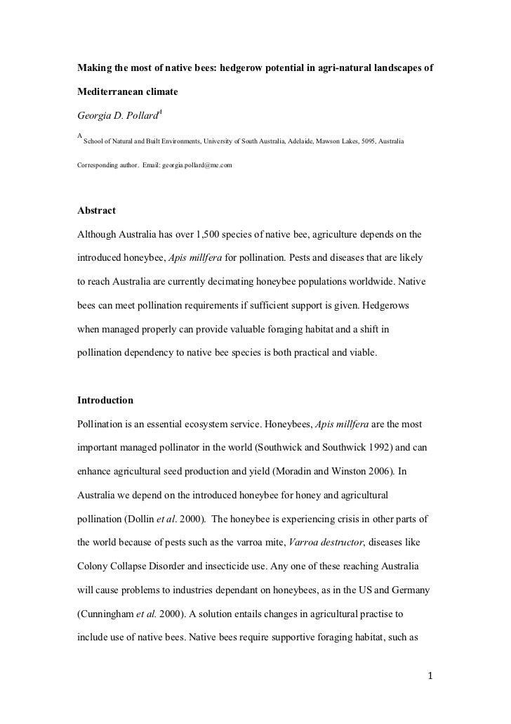 Making the most of native bees: hedgerow potential in agri-natural landscapes ofMediterranean climateGeorgia D. PollardAA ...