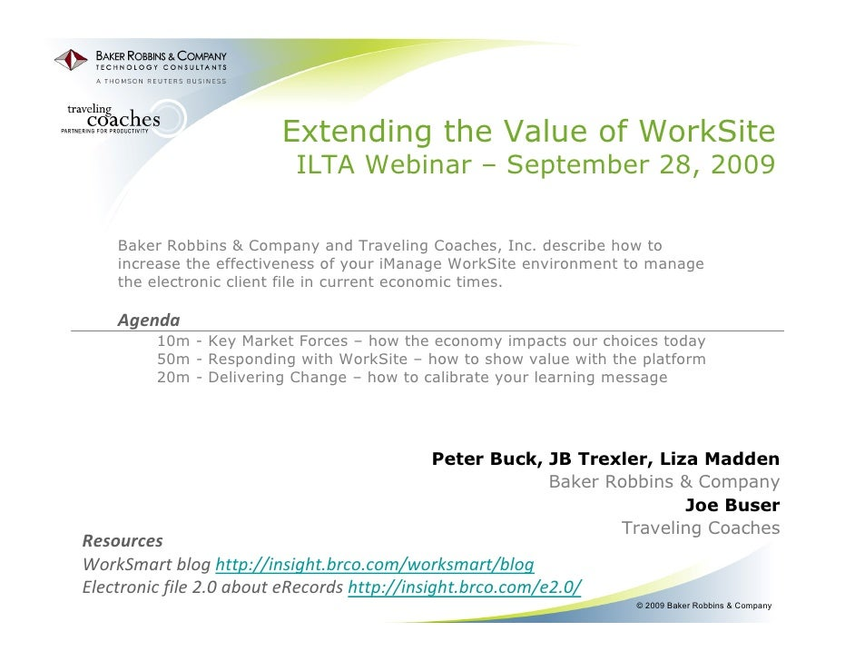 Making The Most Of Work Site Environment (Ilta Webinar 9 28 From Baker Robbins And Traveling Coaches