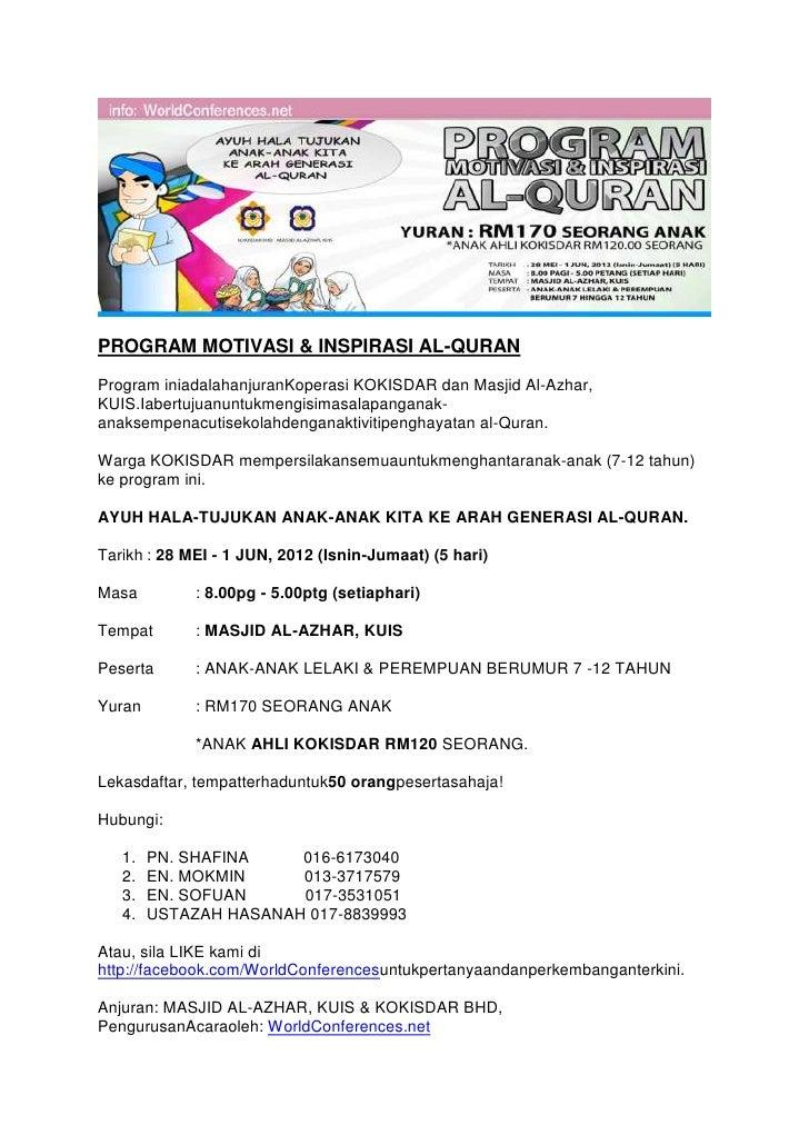 Maklumat program al quran dan borang
