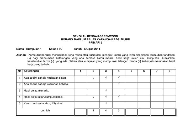 SEKOLAH RENDAH GREENWOOD                                      BORANG MAKLUM BALAS KARANGAN BAGI MURID                     ...