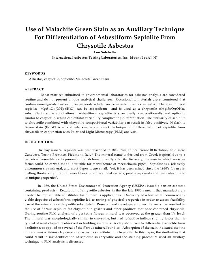 Use of Malachite Green Stain as an Auxiliary Technique   For Differentiation of Asbestiform Sepiolite From                ...