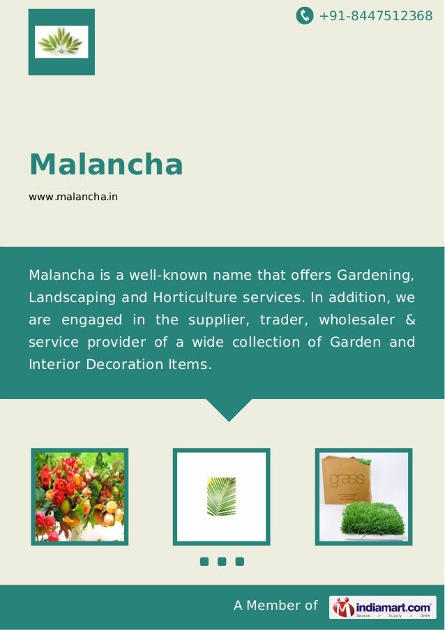 +91-8447512368  Malancha www.malancha.in  Malancha is a well-known name that offers Gardening, Landscaping and Horticulture...
