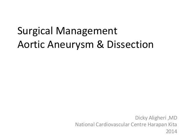 Surgical Management Aortic Aneurysm & Dissection Dicky Aligheri ,MD National Cardiovascular Centre Harapan Kita 2014
