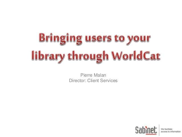 Pierre Malan Director: Client Services