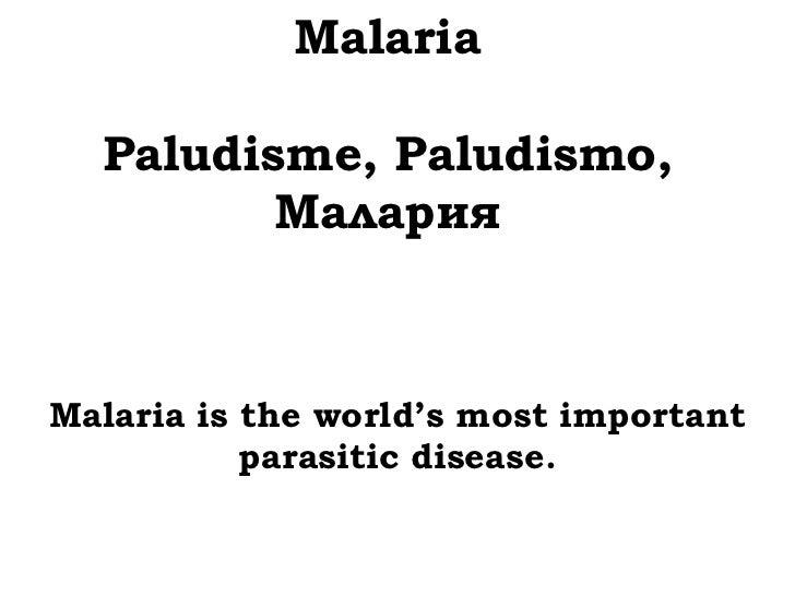Malaria  Paludisme, Paludismo,         МаларияMalaria is the world's most important           parasitic disease.