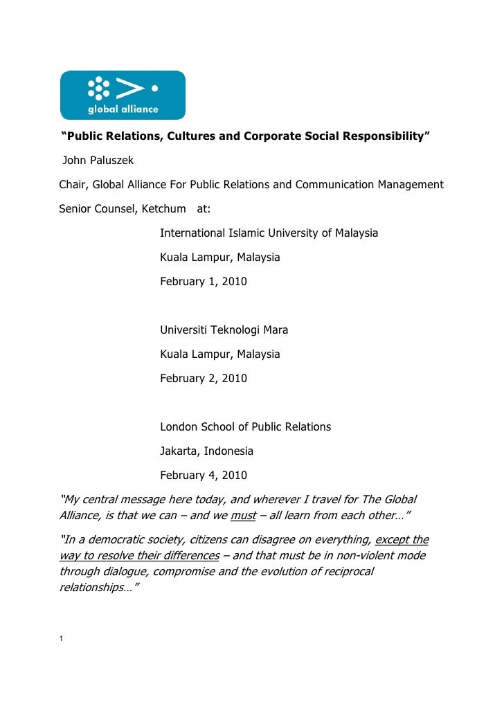 """Public Relations, Cultures and Corporate Social Responsibility""  John Paluszek  Chair, Global Alliance For Public Relatio..."
