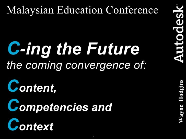 Malaysian Education Conference   C -ing the Future   the coming convergence of: C ontent,   C ompetencies and  C ontext Wa...