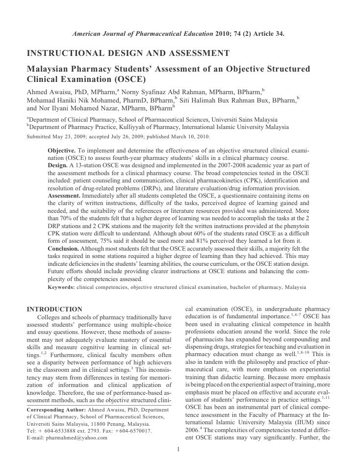 American Journal of Pharmaceutical Education 2010; 74 (2) Article 34.INSTRUCTIONAL DESIGN AND ASSESSMENTMalaysian Pharmacy...