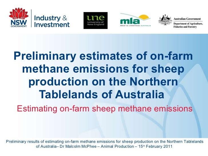 Preliminary estimates of on-farm methane emissions for sheep production on the Northern Tablelands of Australia   Estimati...
