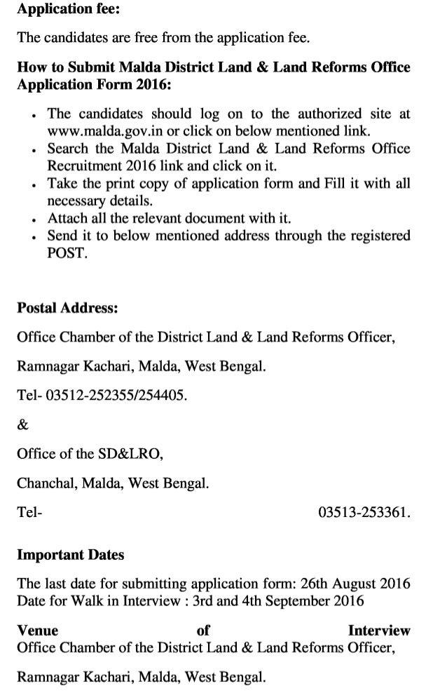 Malda district land and land reforms office govt job recruitment 2016 latest  bhumi sahayak vacancy exam result