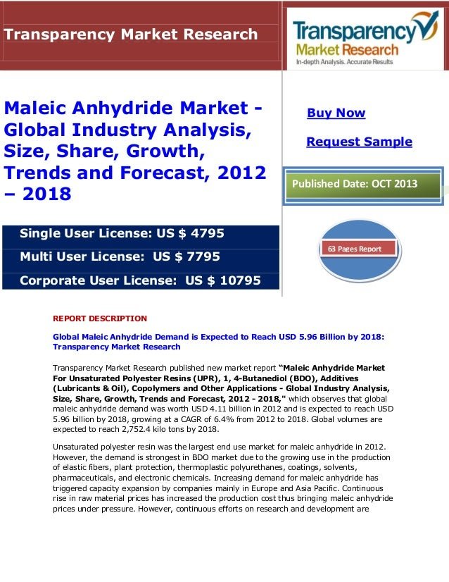 REPORT DESCRIPTION Global Maleic Anhydride Demand is Expected to Reach USD 5.96 Billion by 2018: Transparency Market Resea...