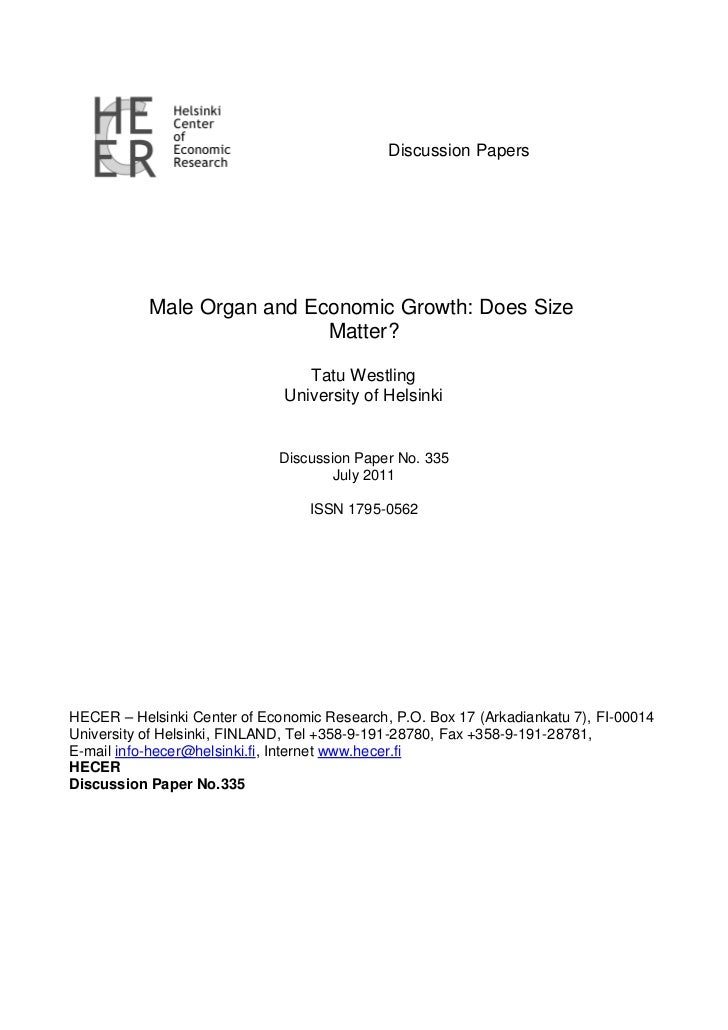 Male organ economic growth: does size matter?