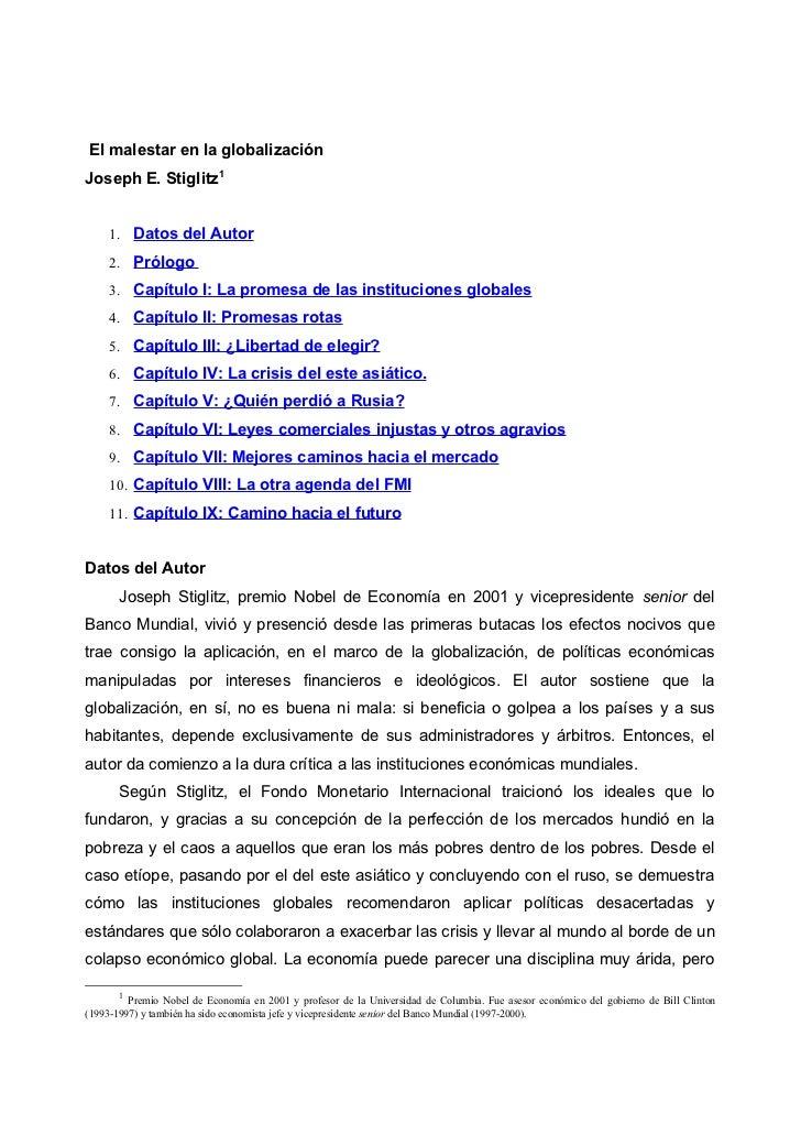 El malestar en la globalizaciónJoseph E. Stiglitz1     1. Datos del Autor     2. Prólogo     3. Capítulo I: La promesa de ...