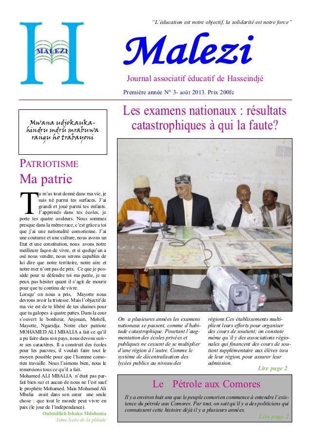 Troisième journal de l'Association Malezi de Hasseindjé Oichili