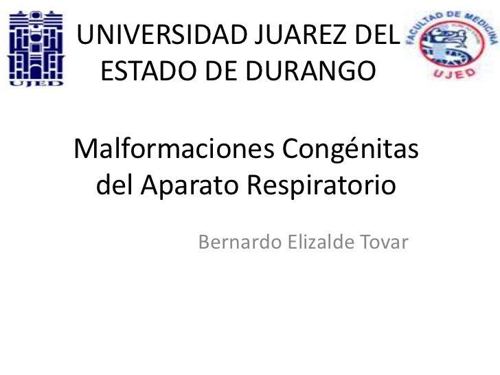 UNIVERSIDAD JUAREZ DEL ESTADO DE DURANGOMalformaciones Congénitas del Aparato Respiratorio         Bernardo Elizalde Tovar