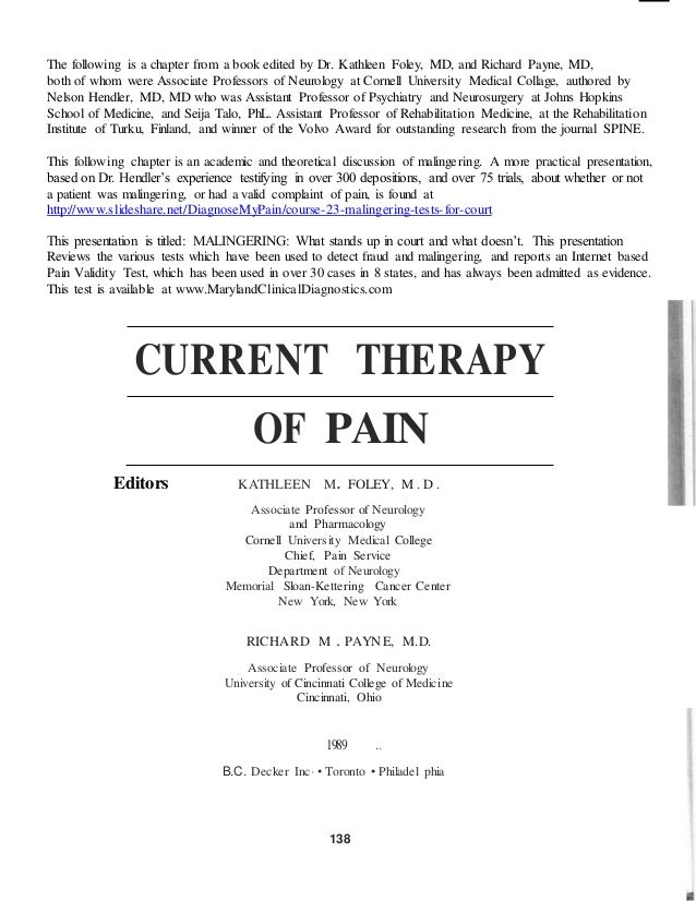 The following is a chapter from a book edited by Dr. Kathleen Foley, MD, and Richard Payne, MD,  both of whom were Associa...
