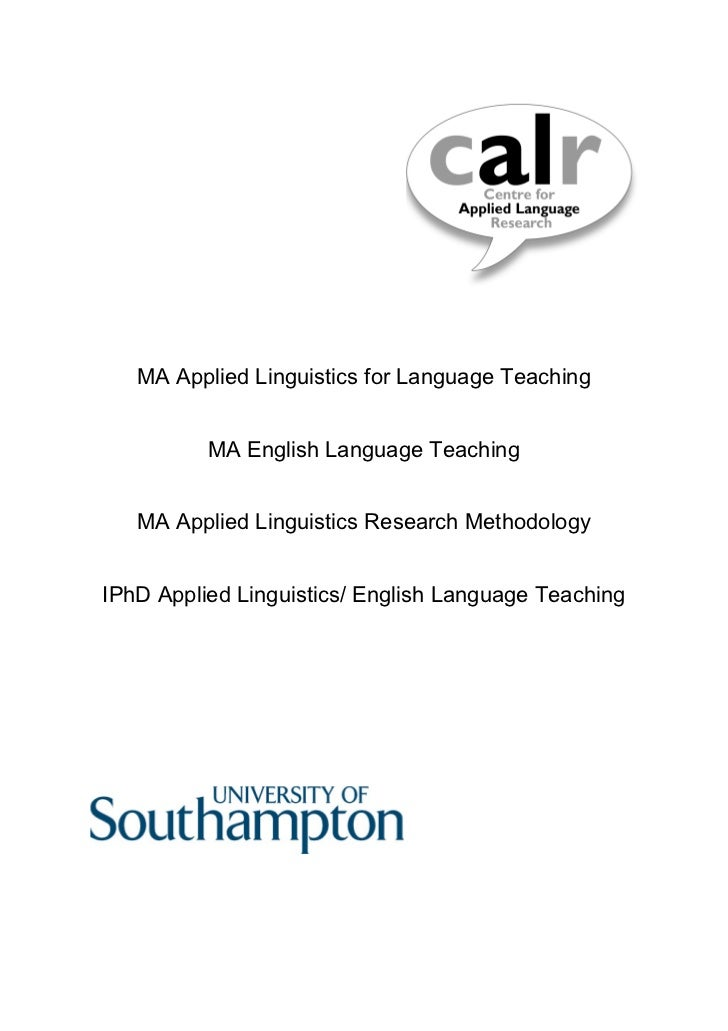 MA Applied Linguistics for Language Teaching          MA English Language Teaching   MA Applied Linguistics Research Metho...