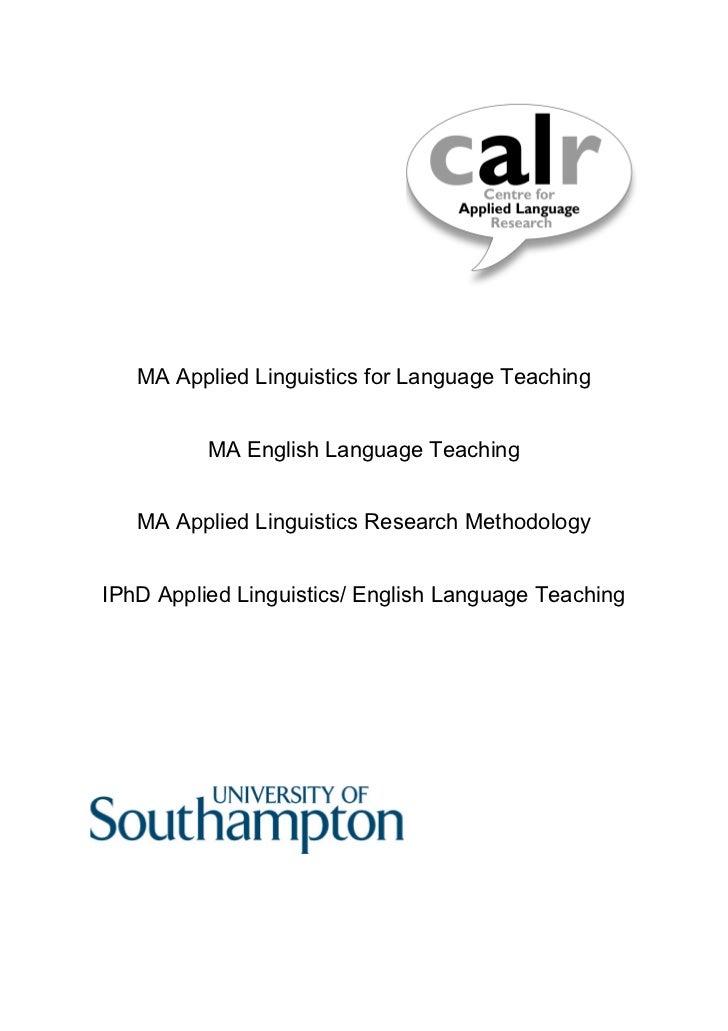 REFLESS Project - MA Linguistics Programme Information
