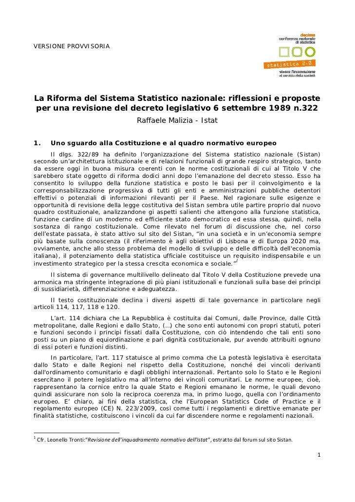 VERSIONE PROVVISORIALa Riforma del Sistema Statistico nazionale: riflessioni e proposteper una revisione del decreto legis...