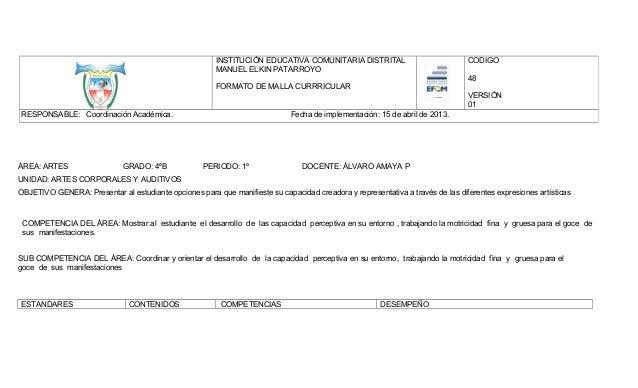 INSTITUCIÓN EDUCATIVA COMUNITARIA DISTRITAL MANUEL ELKIN PATARROYO  CODIGO 48  FORMATO DE MALLA CURRRICULAR VERSIÓN 01 RES...