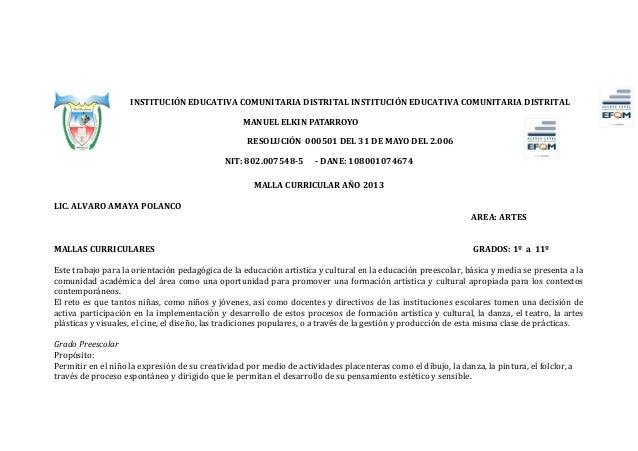 Mallas curriculares   oficial de 4ºb..2013..1