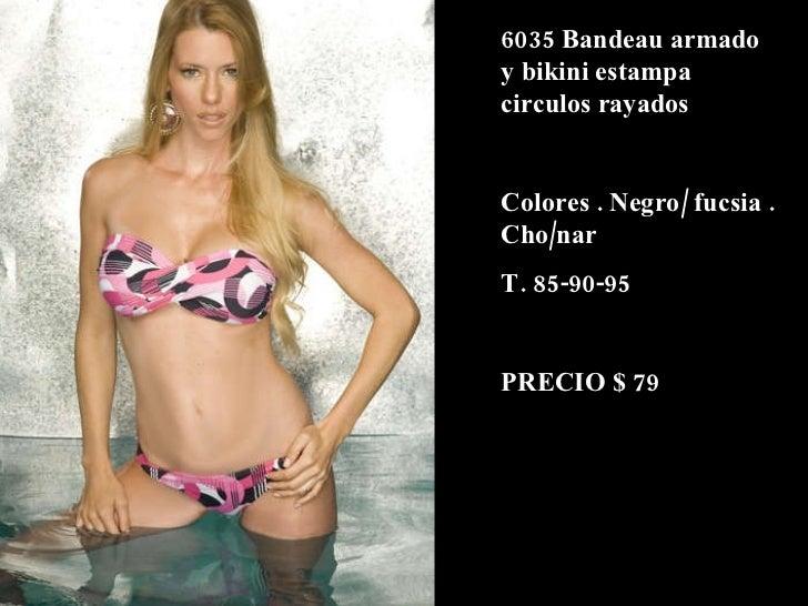 6035 Bandeau armado y bikini estampa circulos rayados Colores . Negro/ fucsia . Cho/nar  T. 85-90-95 PRECIO $ 79