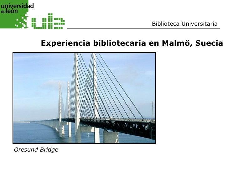 Biblioteca Universitaria           Experiencia bibliotecaria en Malmö, Suecia     Oresund Bridge