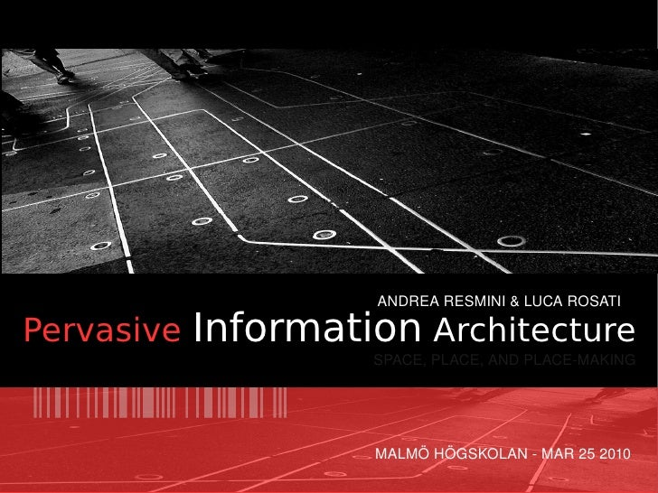 ANDREA RESMINI & LUCA ROSATI  Pervasive Information Architecture                     SPACE, PLACE, AND PLACE­MAKING       ...