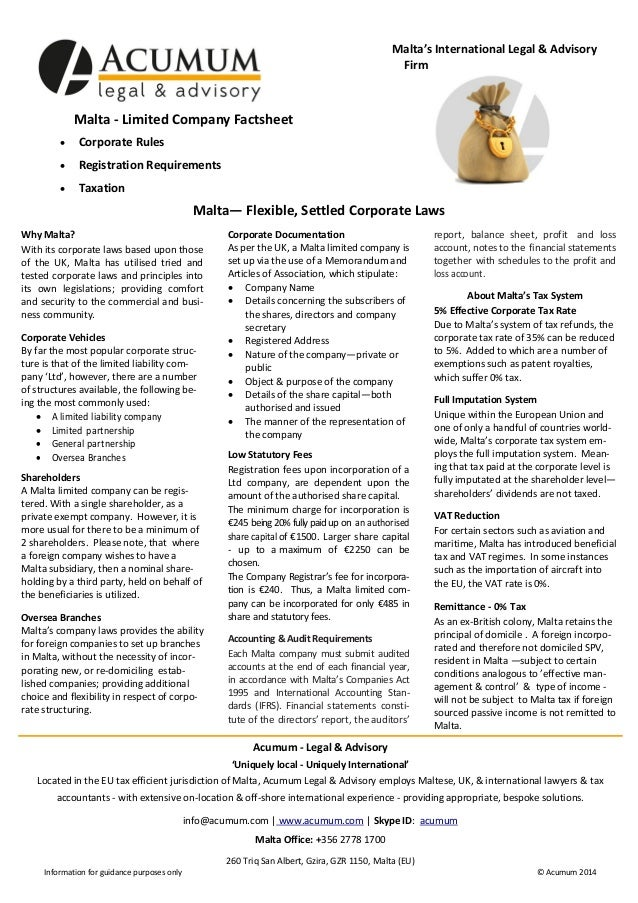 Malta's International Legal & Advisory Firm  Malta - Limited Company Factsheet   Corporate Rules    Registration Require...