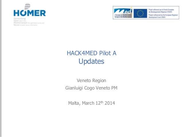 HACK4MED Pilot A  Updates  Veneto Region Gianluigi Cogo Veneto PM  Malta, March 12th 2014