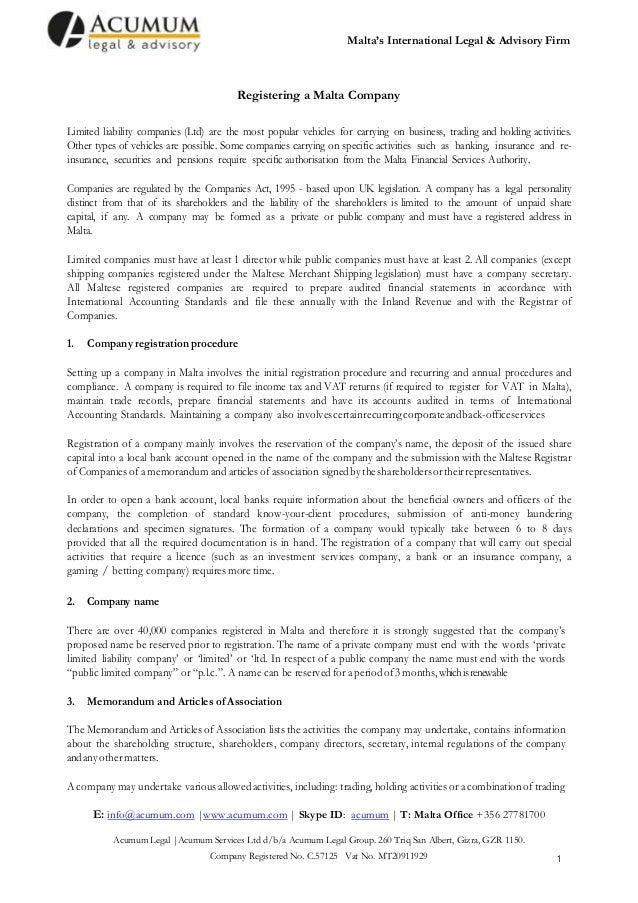 Malta Ltd Company Formation - A Walk Through - 2014 - Acumum Legal & Advisory