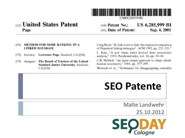 SEO Patente   Malte Landwehr       25.10.2012