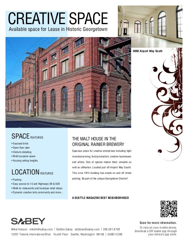 CREATIVE SPACE Available space for Lease in Historic Georgetown  5890 Airport Way South  SPACE FEATURES • Exposed brick • ...