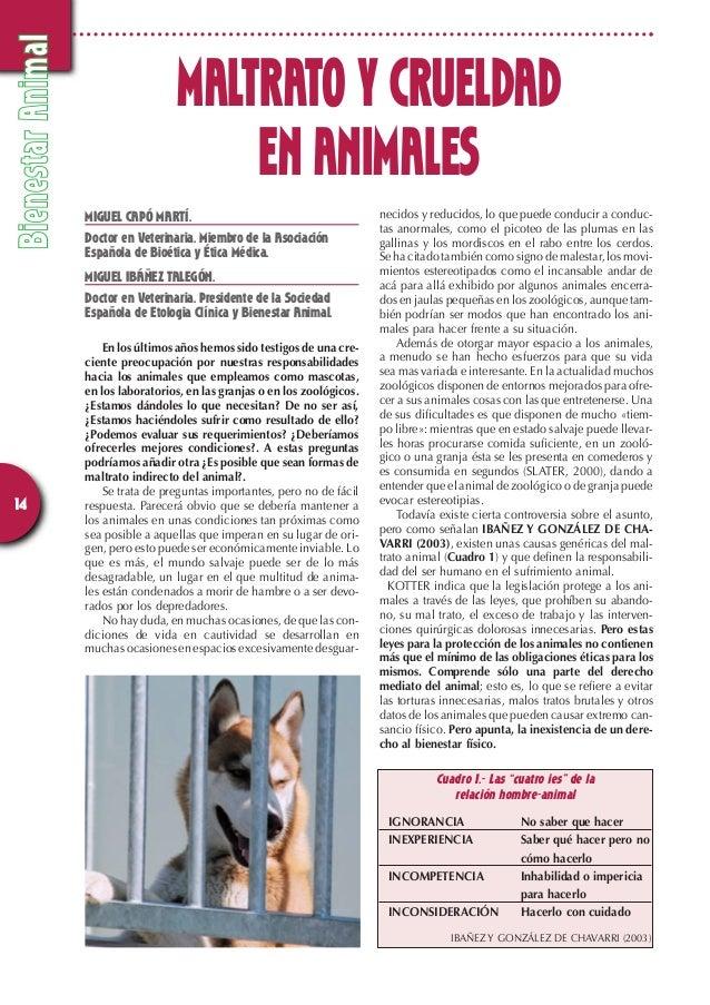Bienestar Animal  14-18 Maltrato  24/10/06  20:04  Página 14  MALTRATO Y CRUELDAD EN ANIMALES MIGUEL CAPÓ MARTÍ. Doctor en...