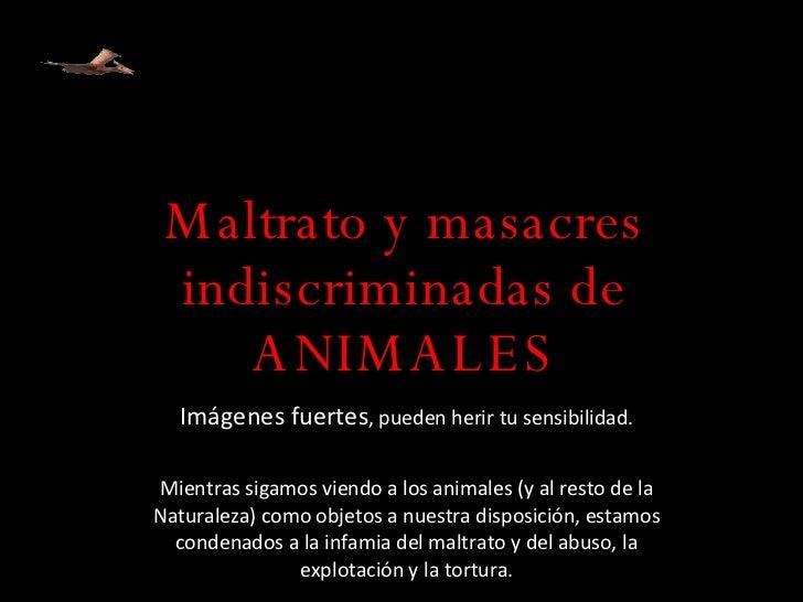 Maltrato y masacres indiscriminadas de ANIMALES Imágenes fuertes , pueden herir tu sensibilidad. Mientras sigamos viendo a...