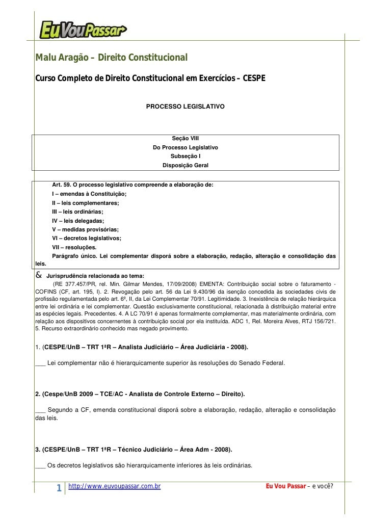 Malu Aragão – Direito ConstitucionalCurso Completo de Direito Constitucional em Exercícios – CESPE                        ...