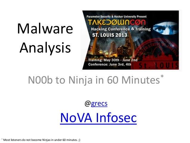 Malware Analysis: N00b to Ninja in 60 Minutes -- TakeDownCon St. Louis on June 3, 2013