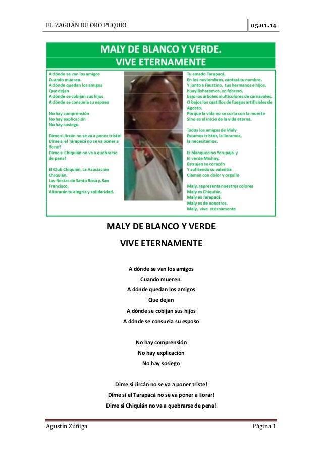 EL ZAGUÁN DE ORO PUQUIO  .  .  MALY DE BLANCO Y VERDE VIVE ETERNAMENTE A dónde se van los amigos Cuando mueren. A dónde qu...