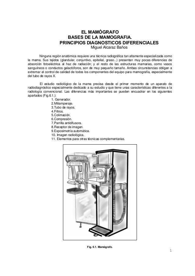 EL MAMÓGRAFO BASES DE LA MAMOGRAFIA. PRINCIPIOS DIAGNOSTICOS DIFERENCIALES Miguel Alcaraz Baños Ninguna región anatómica r...