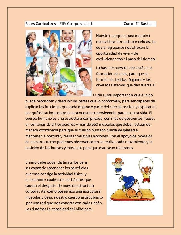 Bases Curriculares EJE: Cuerpo y salud                      Curso: 4° Básico                                           Nue...
