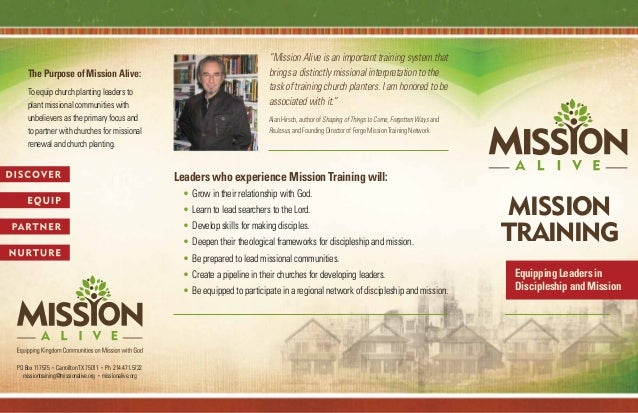 The Purpose of Mission Alive Brochure