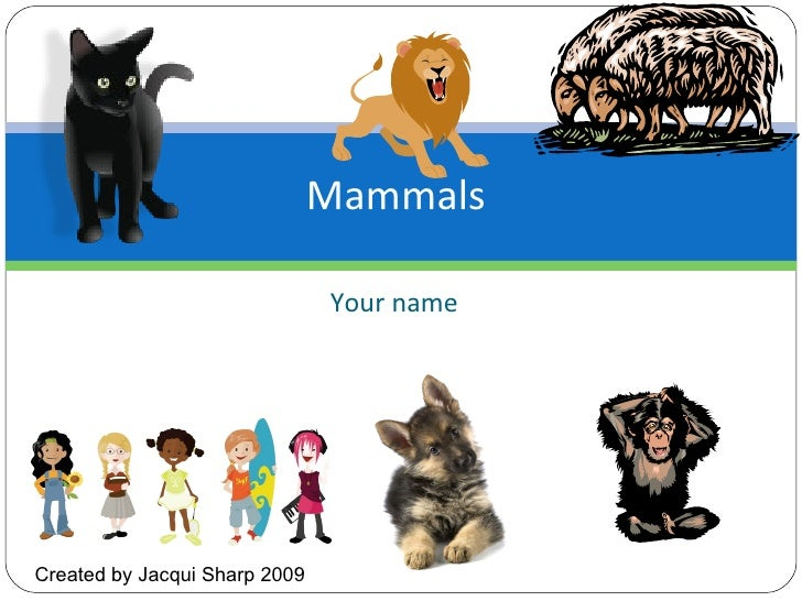 Your name Mammals  Created by Jacqui Sharp 2009