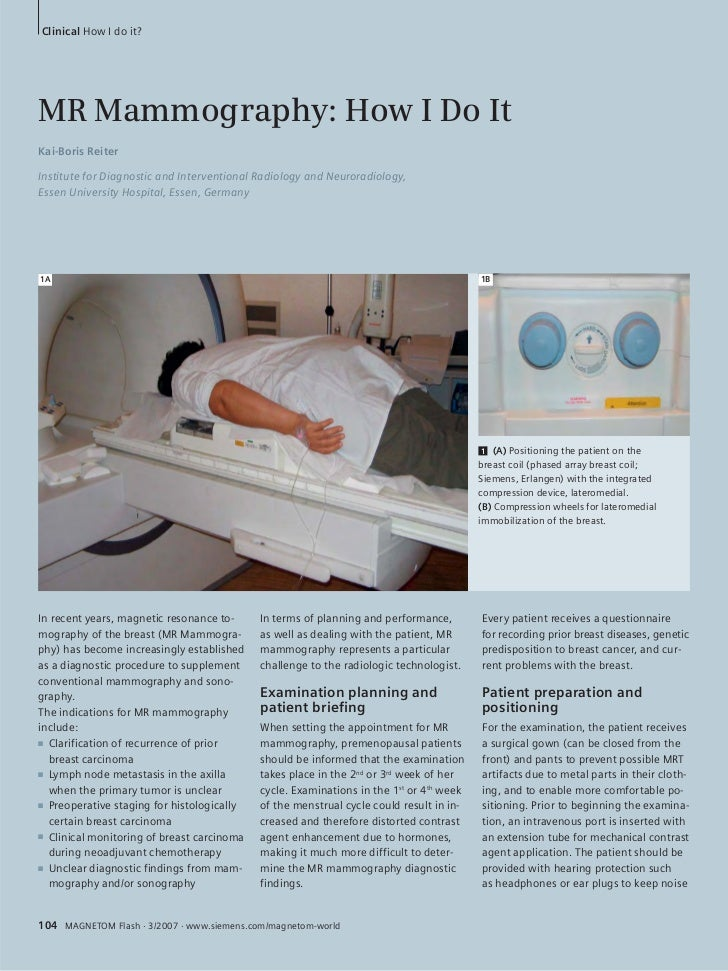 Clinical How I do it?MR Mammography: How I Do ItKai-Boris ReiterInstitute for Diagnostic and Interventional Radiology and ...