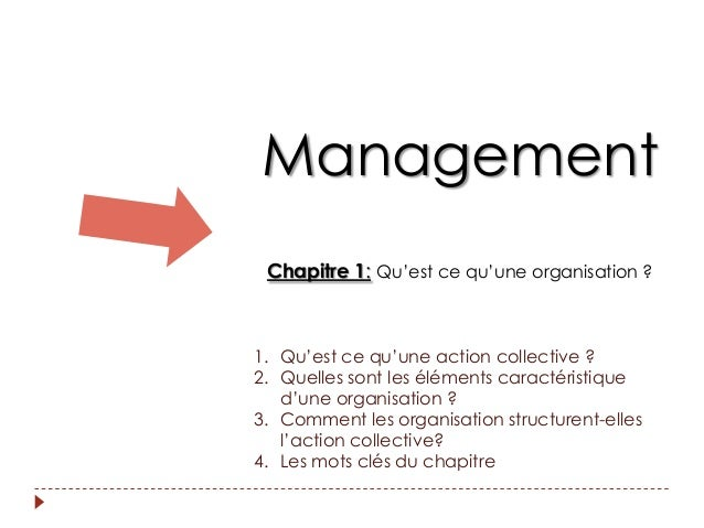 Management Chapitre 1: Qu'est ce qu'une organisation ?1. Qu'est ce qu'une action collective ?2. Quelles sont les éléments ...