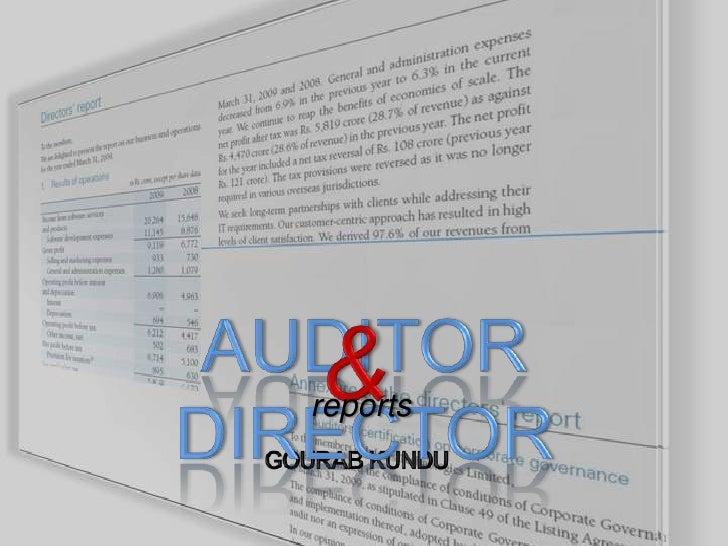 AUDITOR  DIRECTOR<br />&<br />reports<br />GOURAB KUNDU<br />