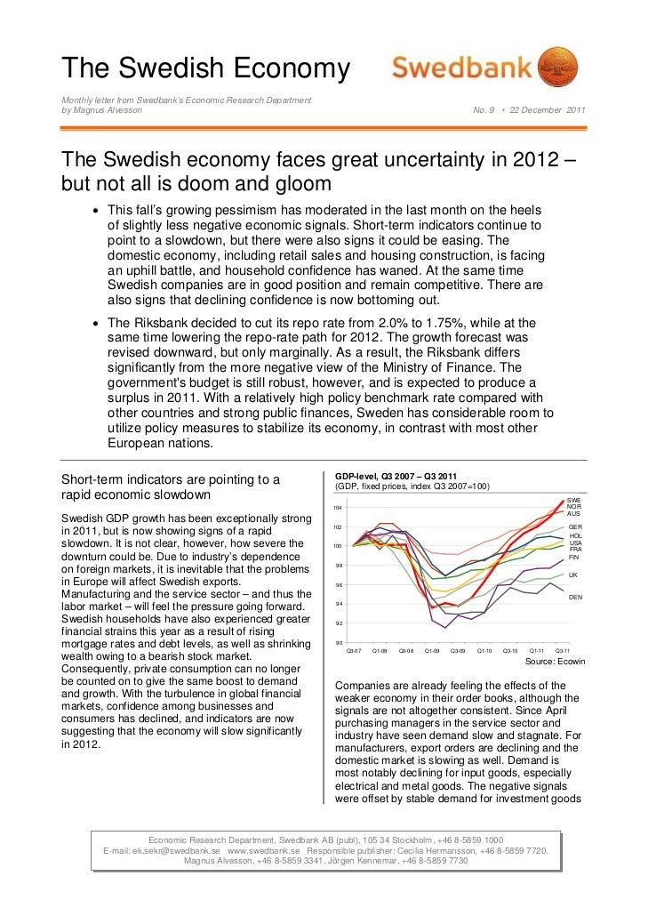The Swedish Economy No.9 - December 22, 2011